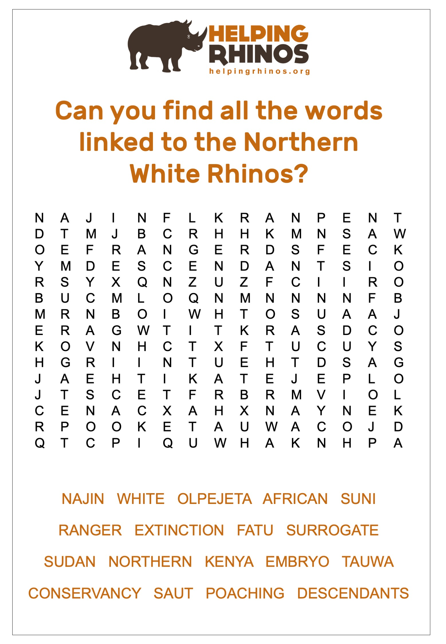 Northern White Rhino Wordsearch