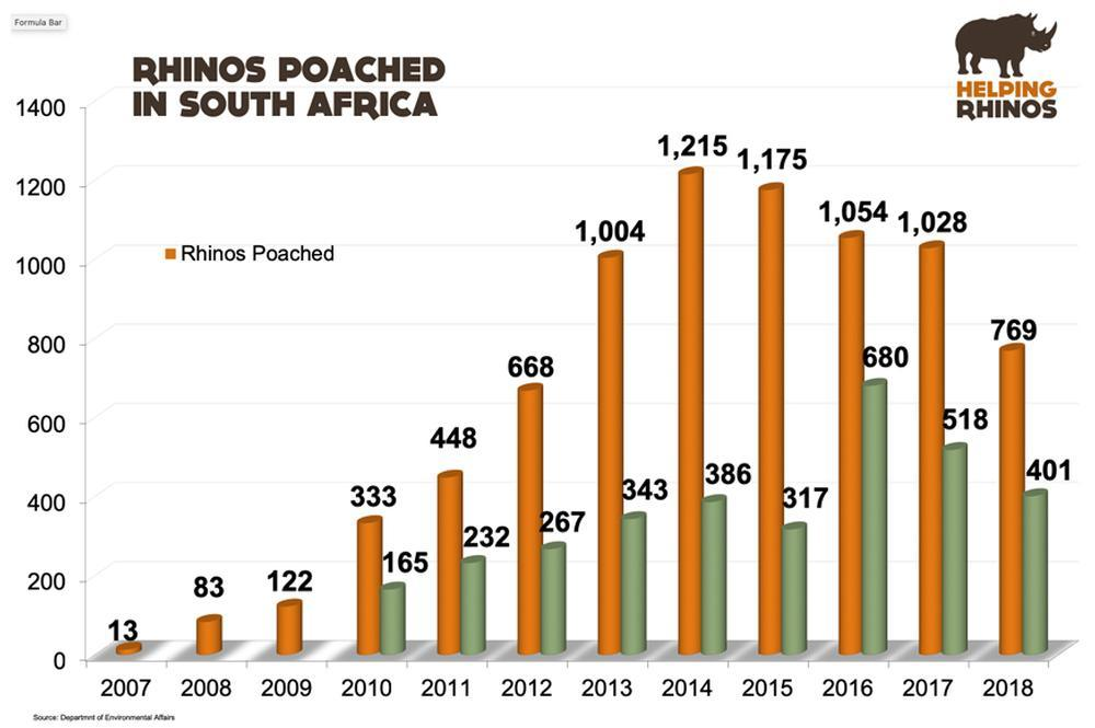 Rhino Poaching DOWN for third Year in a Row