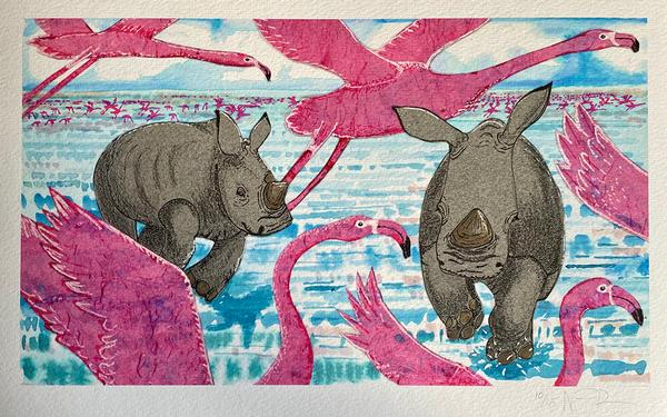 Rhino Calves and Flamingo from the book 'Last'